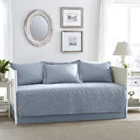 Laura Ashley Felicity 5 Piece Quilt Set, Breeze Blue, Daybed