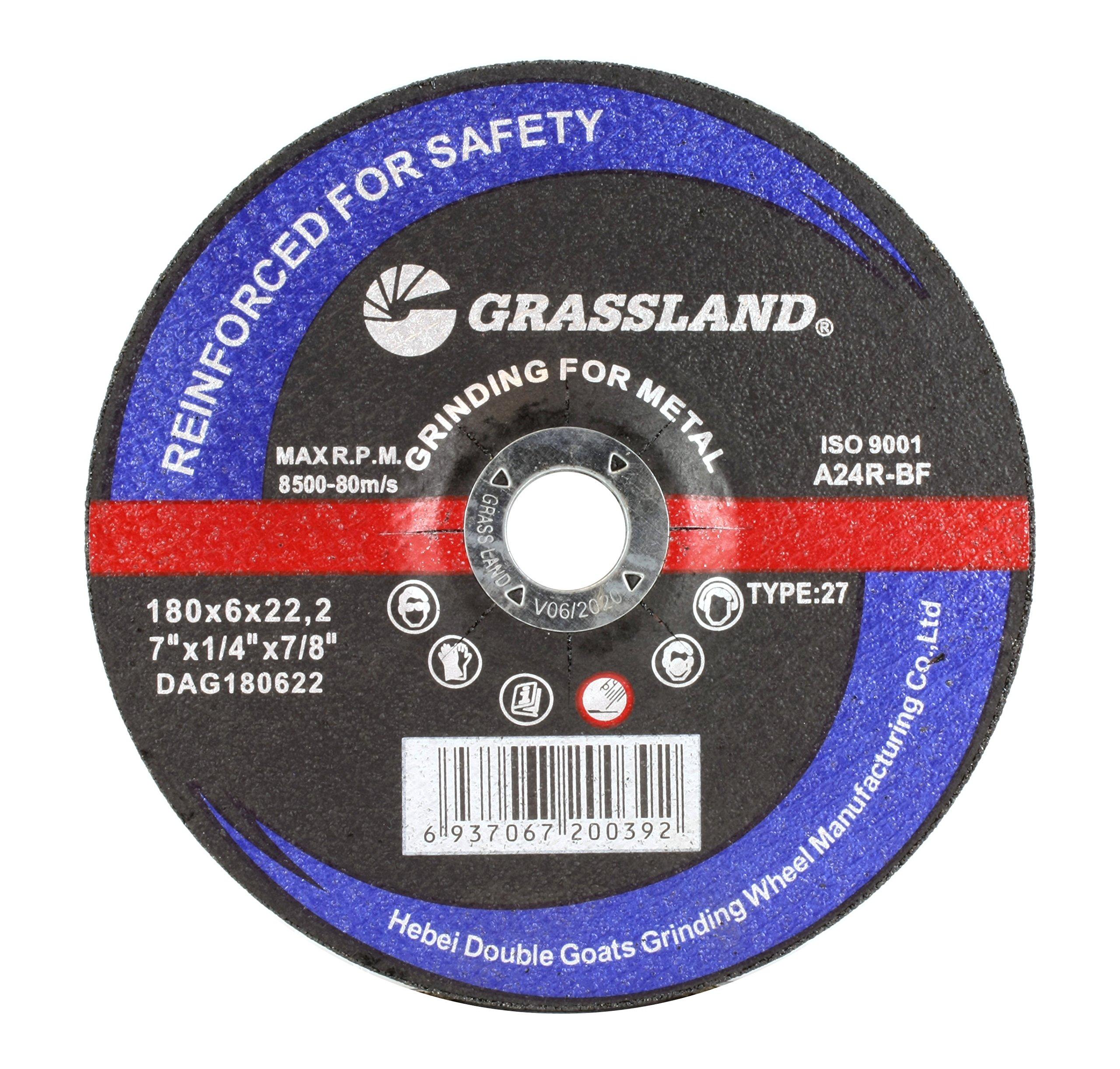 Grinding Disc, Steel Grinding Wheel - 7'' x 1/4'' x 7/8'' - T27 - (5 Pack)