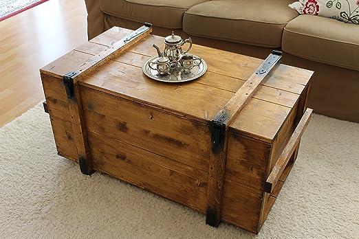Mesa de centro tipo baúl, de madera, mesa auxiliar vintage estilo ...