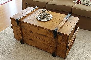 caisse en bois coffre table basse table dappoint vintage style shabby chic bois massif - Table Basse En Caisse En Bois