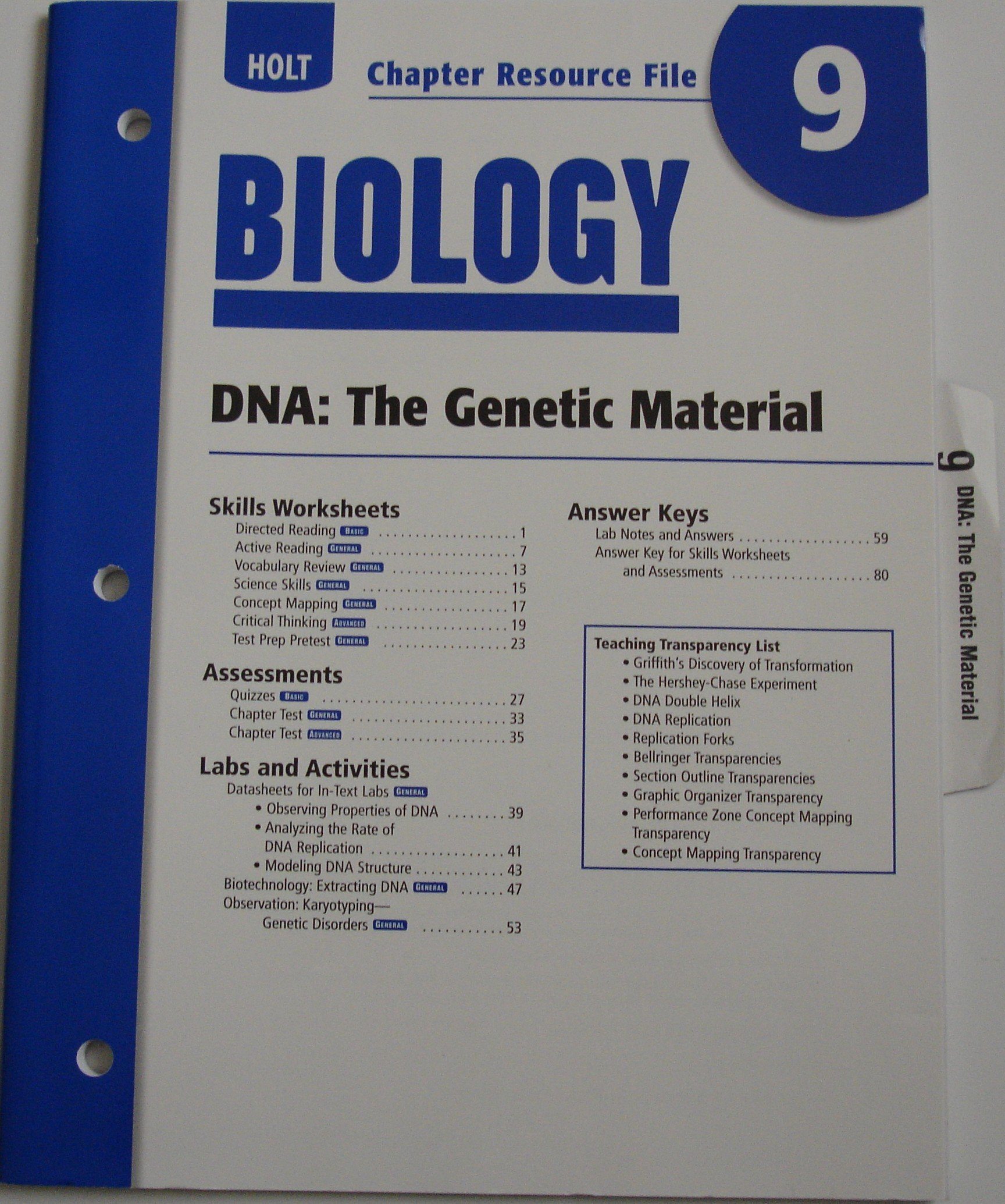 Worksheets Holt Biology Worksheets holt biology dna the genetic material chapter resource no 9 rinehart winston 9780030413735 amazon com books