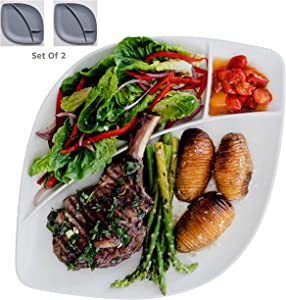 Porcelain Large Divided Dinner Plates Or Platters Set of 2 Dinnerware For Entertaining, Dining Or Parties, Stoneware Grey & White Colors, Alfresco Ceramic Mix & Match Our Entire Range.