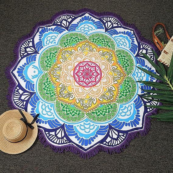 Magnífica Mandala Tela playa ICOCO Tapiz redonda de algodón de colores bonito suave como tapete, mantel de mesa, para decoracion de baño, sofa, ...