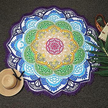 Magnífica Mandala Tela playa ICOCO Tapiz redonda de algodón de colores bonito suave como tapete,