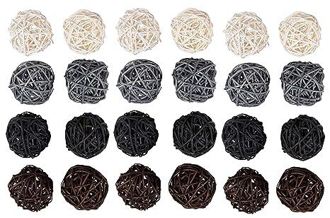 9be6cdd1d74 Juvale 24-Pack Multi Color mimbre ratán bolas – Esferas de decoración para  árbol de