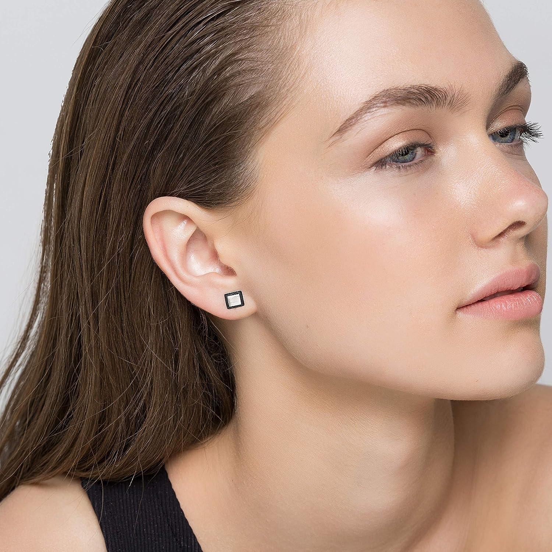 Minimalist earring studs sterling silver stud earrings black earrings geometric earrings hypoallergenic square earring small earrings dainty