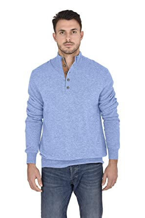 cf2d586db14c Cashmeren Men s 100% Pure Cashmere Classic Knit Soft Button Mock-Neck Polo  Collar Pullover