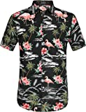 SSLR Men's Flowers Flamingos Casual Aloha Hawaiian Shirt
