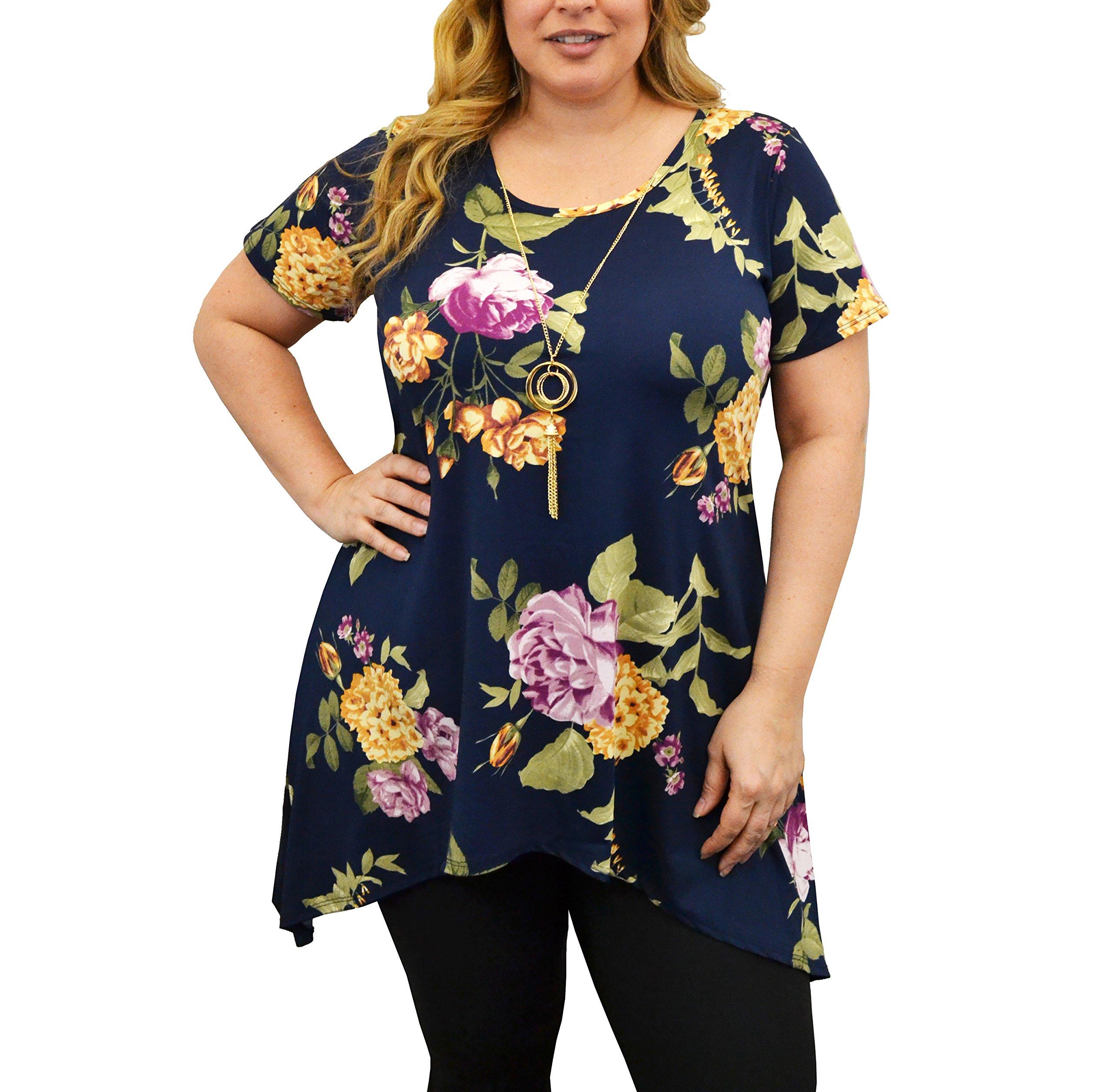 Urban Rose Womens Plus-Size Top, Sharkbite Hem with Necklace