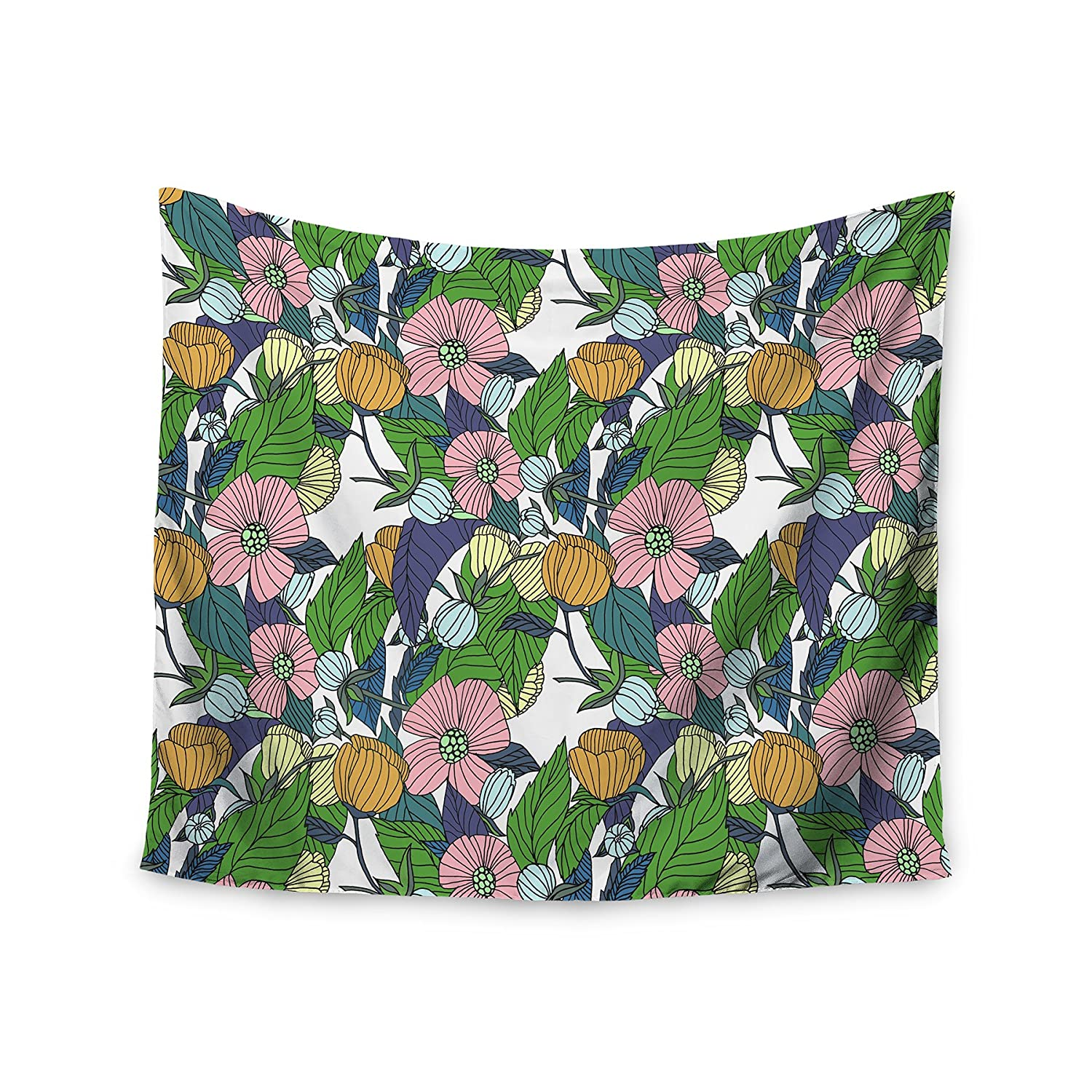 Home Kitchen Kess Inhouse Catherine Holcombe Spring Foliage Floral Pastels Wall Tapestry 68 X 80 Home Décor