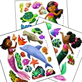 Cuties Like Me Black Mermaid Removable Wall Decals Girls Bedroom Nursery and Bath Decor