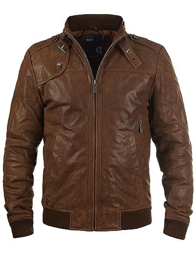 722d15ab050 Solid Dash Men s Leather Jacket Biker Jacket with Funnel Neck Made of Genuine  Leather