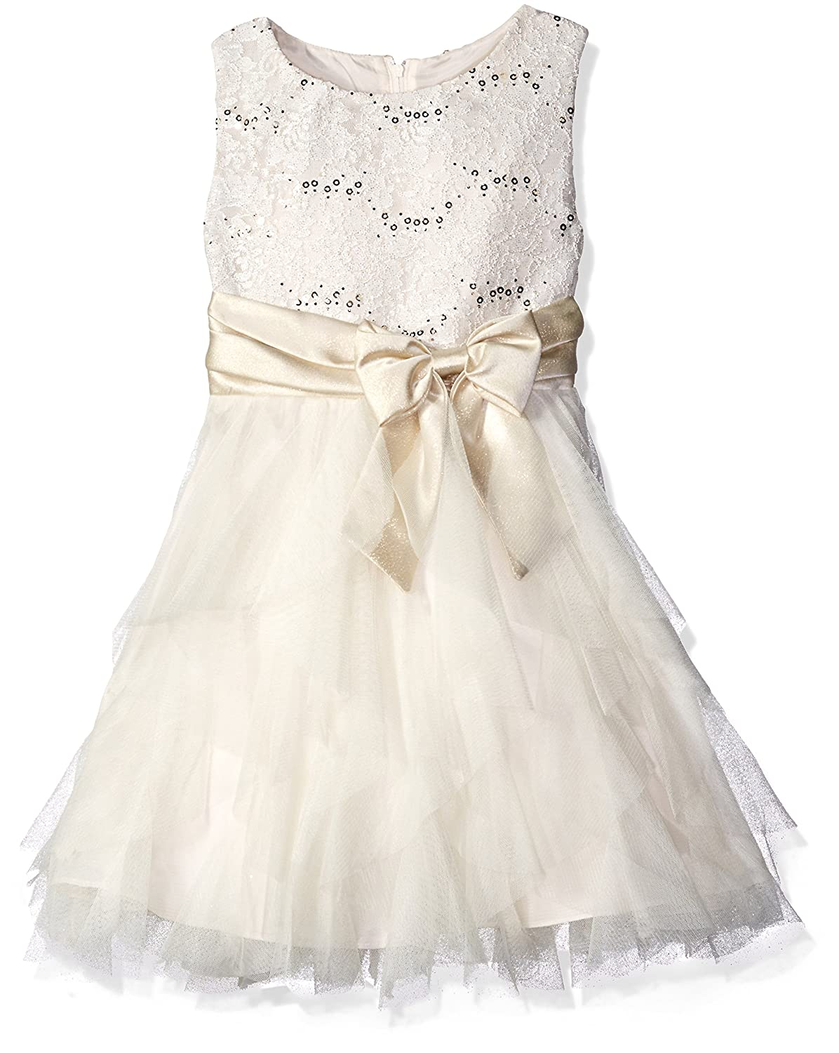 14644e9fc Amazon.com: Rare Editions Girls' Big Lace Bodice to Cascade Social Dress,  Ivory/Gold 16: Clothing