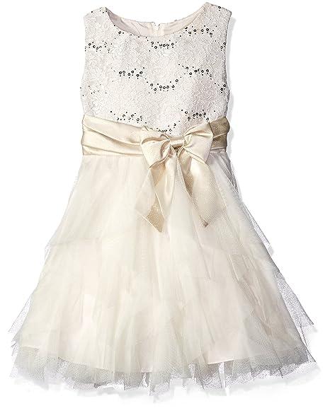 6b63936f1770 Rare Editions Girls' Big Lace Bodice to Cascade Social Dress, Ivory/Gold 16