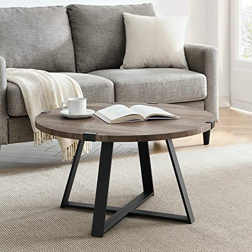 30 Inch Round Metal Wrap Coffee Table