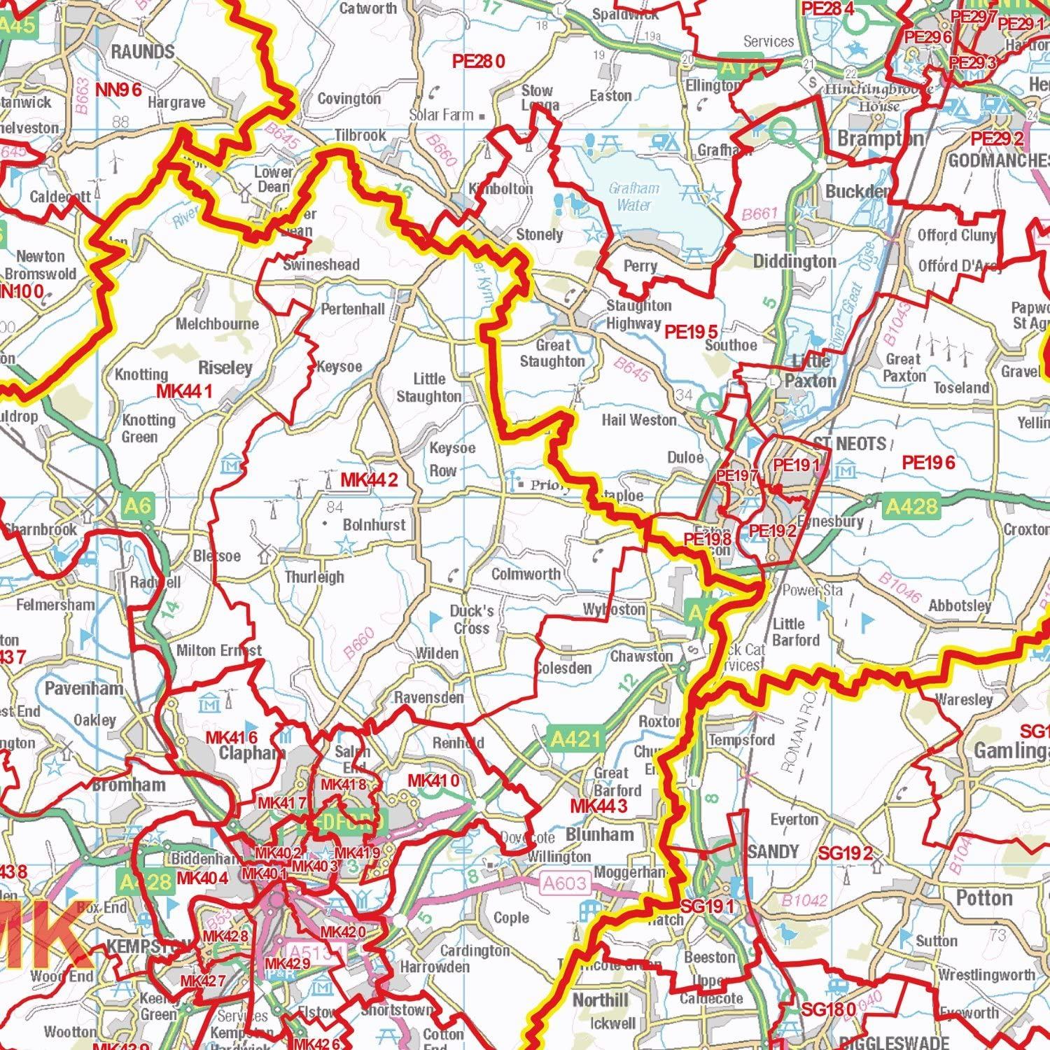 S7 Postcode Sector Map - - East Midlands Wall Map-Plastic Coated