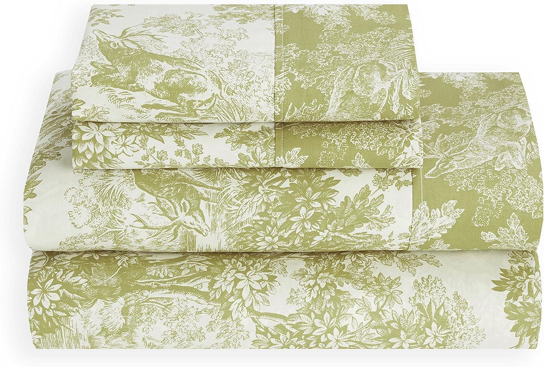 HILFIGER SEAFOAM QUEEN Sheet Set 100/% Cotton Percale