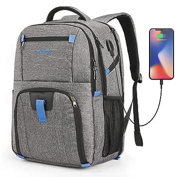 Coolbell 17,3 Laptop Mochila Impermeable Mochila Escolar Mochila de Viaje/Business Backpack/schützende Día Funda para Hombre/Mujer Gris Gris 17,3 Pulgadas: ...