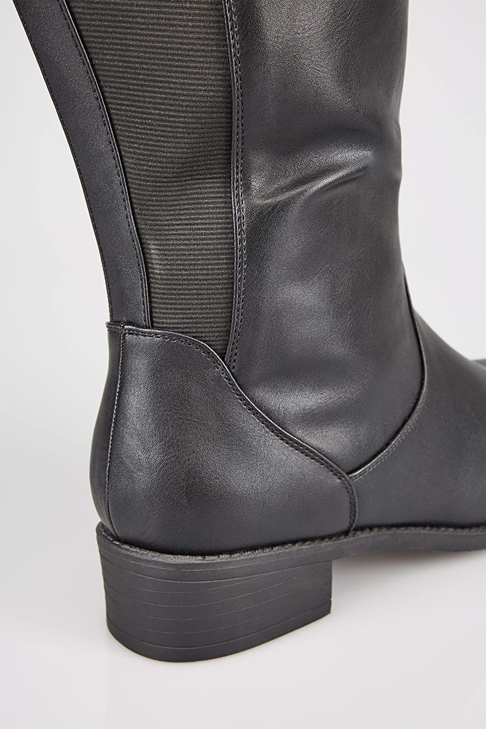 Wide Fit Women's Xl Calf High Leg Boots With Stretch Panels, Sizes 4eee To 10eee