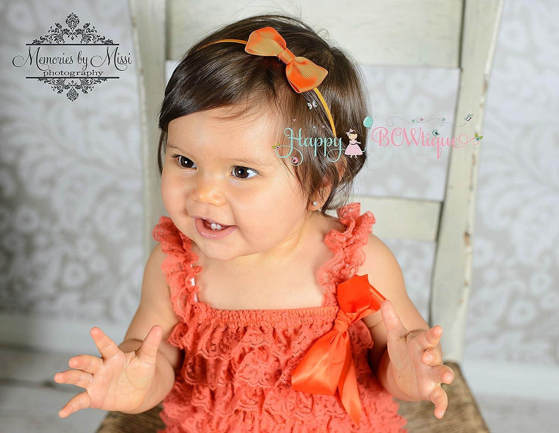 Orange HeadbandOrange Baby HeadbandBaby HeadbandRosette HeadbandLace HeadbandHalloween HeadbandHalloween Baby HeadbandShabby Chic