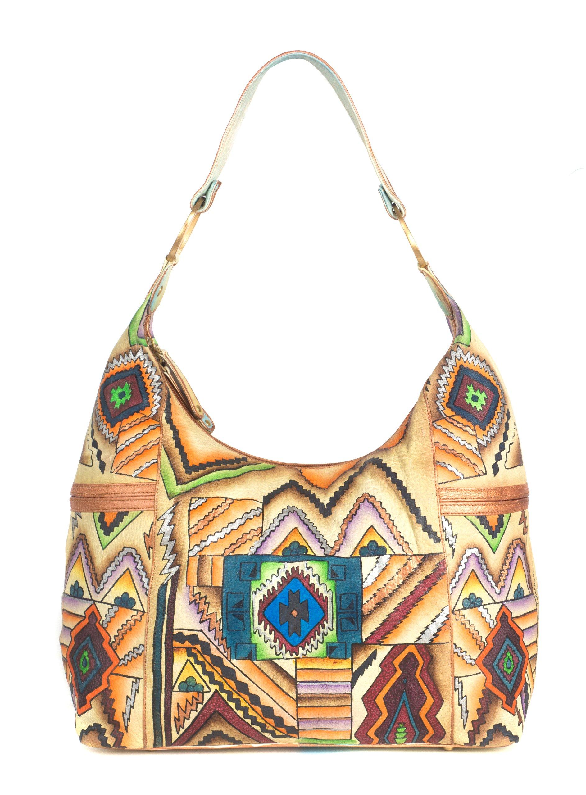 ZIMBELMANN RUTH Genuine Nappa Leather Hand-painted Hobo Shoulder Bag by Zimbelmann