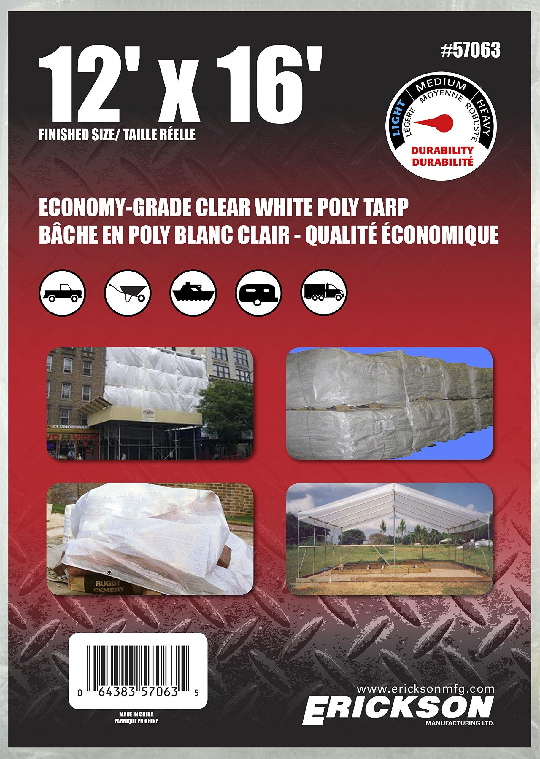 Erickson 57063 Clear White Economy Grade Poly Tarp, 12' x 16', 1 Pack