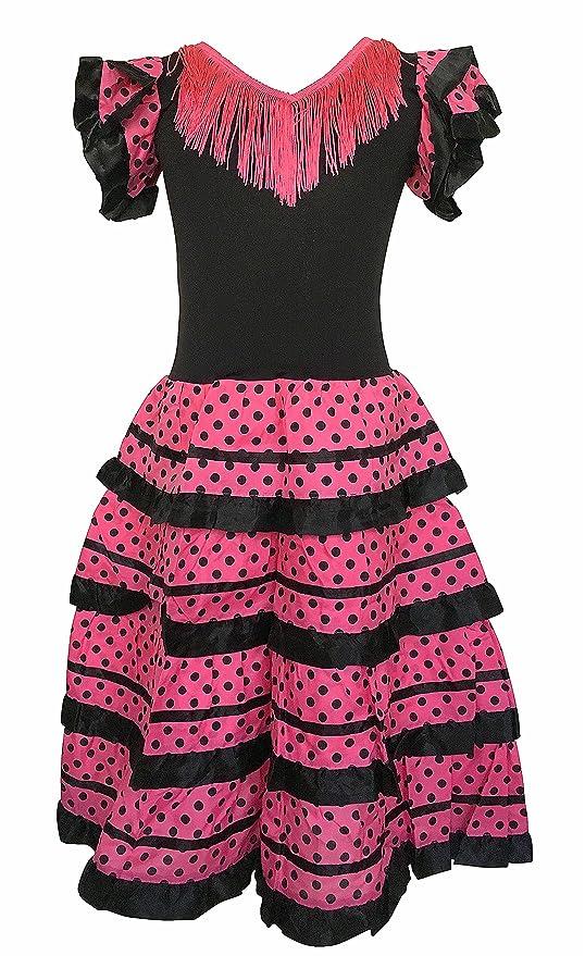 La Senorita Vestido Flamenco Español Traje de Flamenca chica/niños negro rosa (Talla 6
