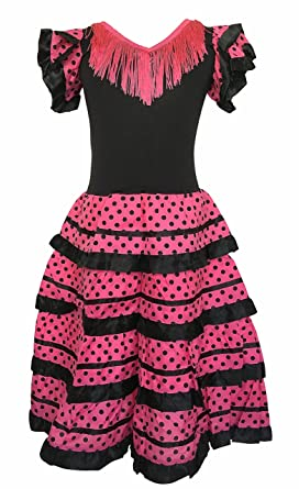 edacd6574b7e La Senorita Spanish Flameco Dress - Girls / Kids - Black / Pink: Amazon.co. uk: Clothing