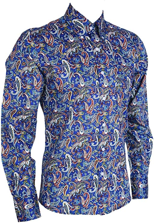 Mens Vintage Shirts – Casual, Dress, T-shirts, Polos Mens Paisley Floral Long Sleeve Vintage Cotton Shirt Retro Mod 60s 70s £15.99 AT vintagedancer.com