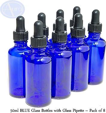 Pack de 8 botellas con pipeta de cristal - Cristal azul - 50 ml ...