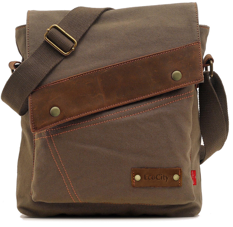 ecocity vintage small canvas messenger shoulder ipad bags for men