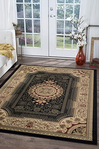 Jayden Traditional Oriental Black Rectangle Area Rug, 9 x 12