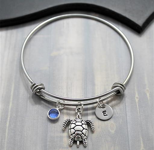 77d1c029488f Amazon.com  Personalized Sea Turtle Bracelet - Sea Turtle Jewelry ...