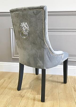 Chaise de salle à manger capitonnée en imitation velours argenté ...
