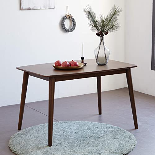 Mid Century Hardwood Dining Table, Modern Solid Wooden Legs Rectangle Kitchen Table for 4-Person, Series of Aslan Walnut