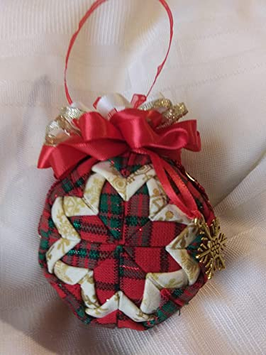 Red plaid and cream snowflake fabrics folded star Christmas Ornament - Amazon.com: Red Plaid And Cream Snowflake Fabrics Folded Star
