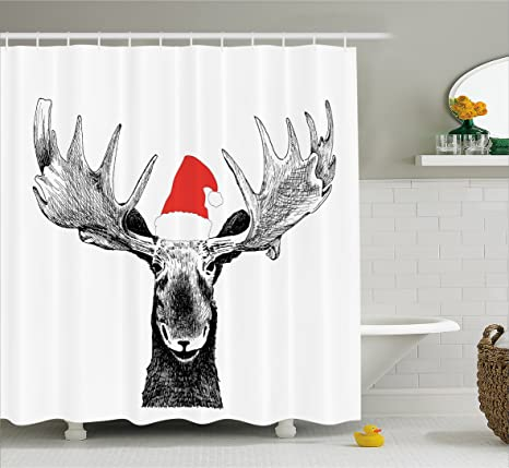 Lunarable Moose Shower Curtain Funny Christmas With Antlers And Santa Claus Hat Xmas Celebrations