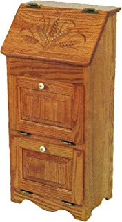 product image for Oak Flip Top Vegetable Bin with 2 Additional Doors - Wheat Carving - Amish Made in USA