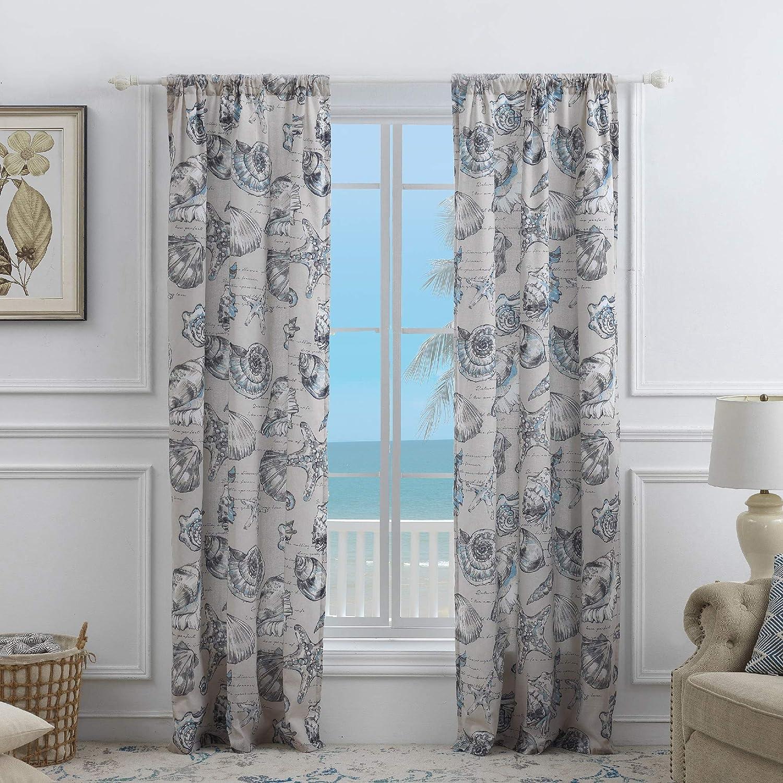 Barefoot Bungalow Cruz Curtain Panel Set, 84 x 84 inches, Linen