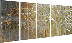 Gold Metal Wall Art Luxury Tree Wall Art Hand-Polished 3D Effect Artwork Contemporary Accent Room Decor Ready to Hangings (24x64Inch)