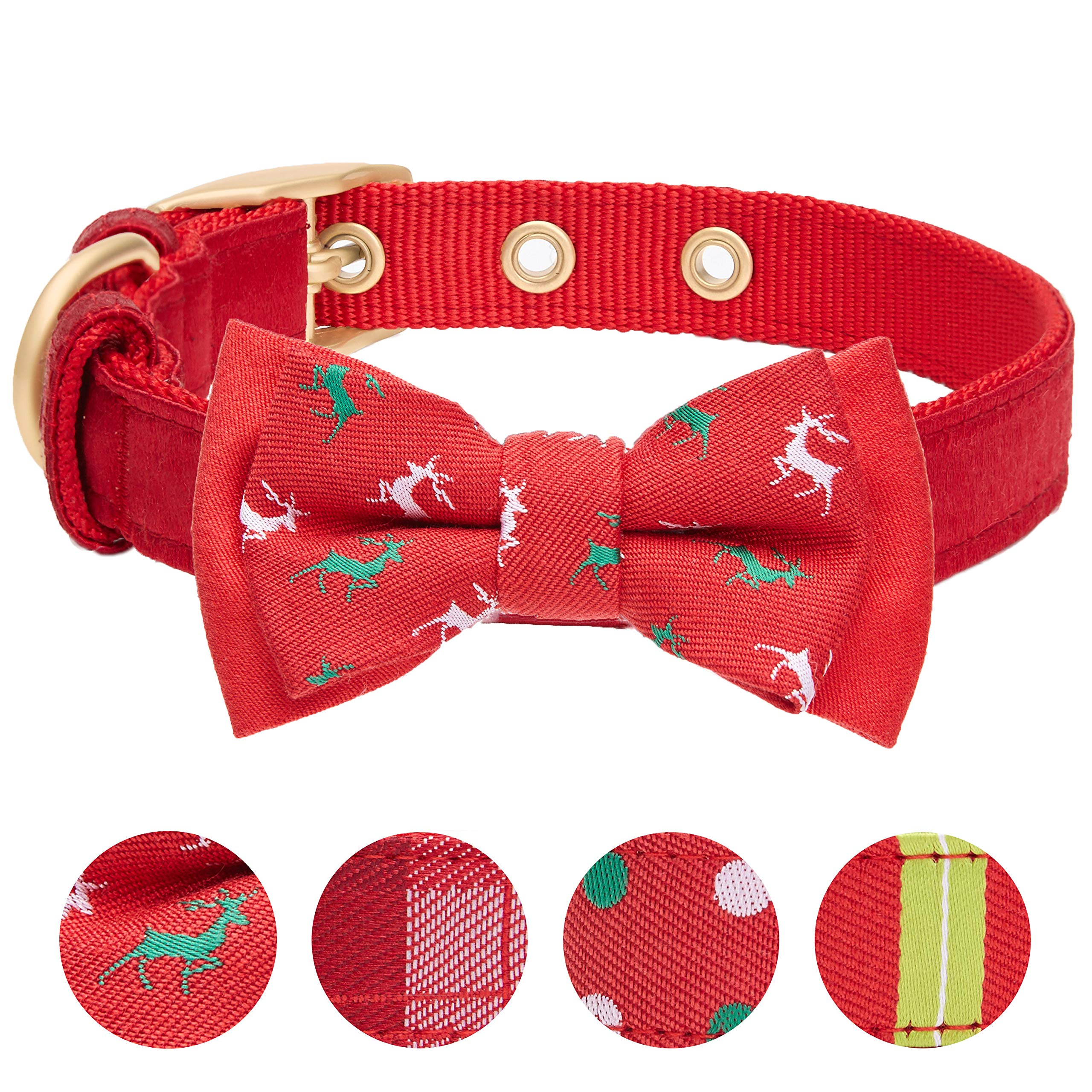 Blueberry Pet 4 Patterns Luxurious Christams Festival Reindeer Dog Collar with Detachable Bowtie, Medium, Neck 13-16.5'', Adjustable Collars for Dogs