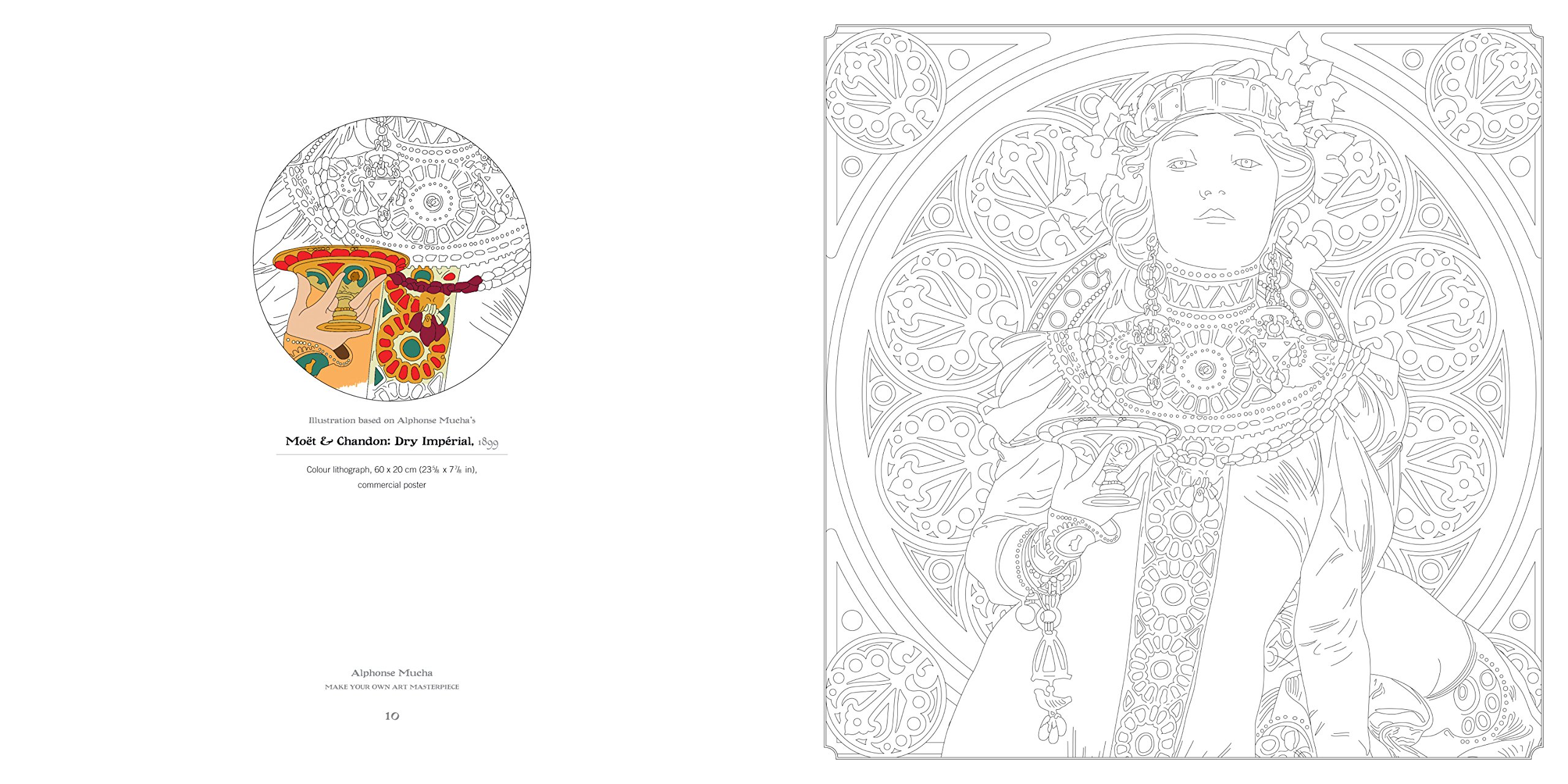 alphonse mucha art colouring book make your own art masterpiece