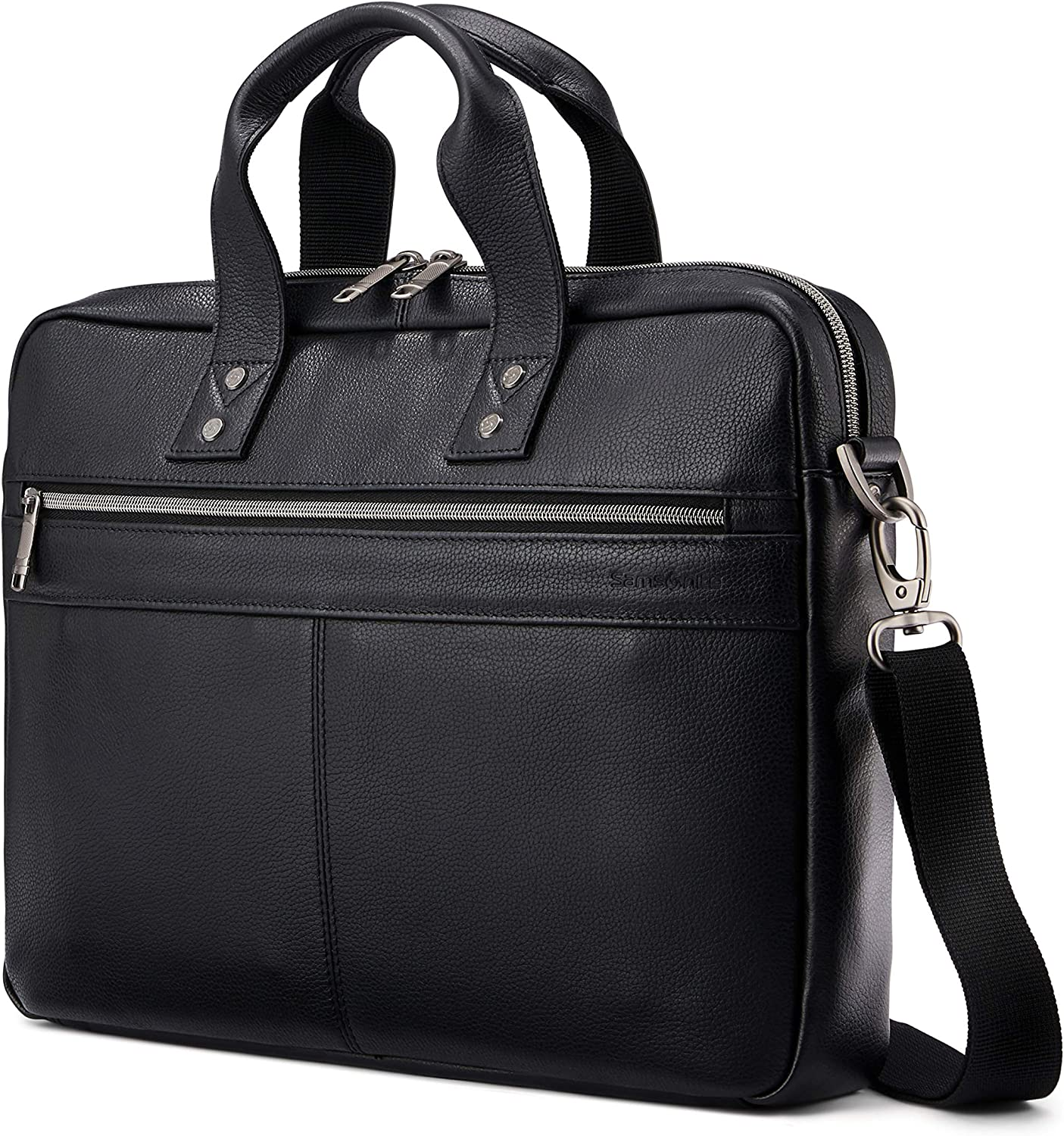 Samsonite Classic Leather Slim Brief, Black, One Size