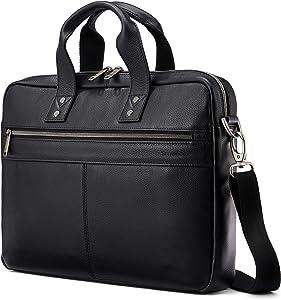 Samsonite Classic Leather Slim Brief, Black, One Size