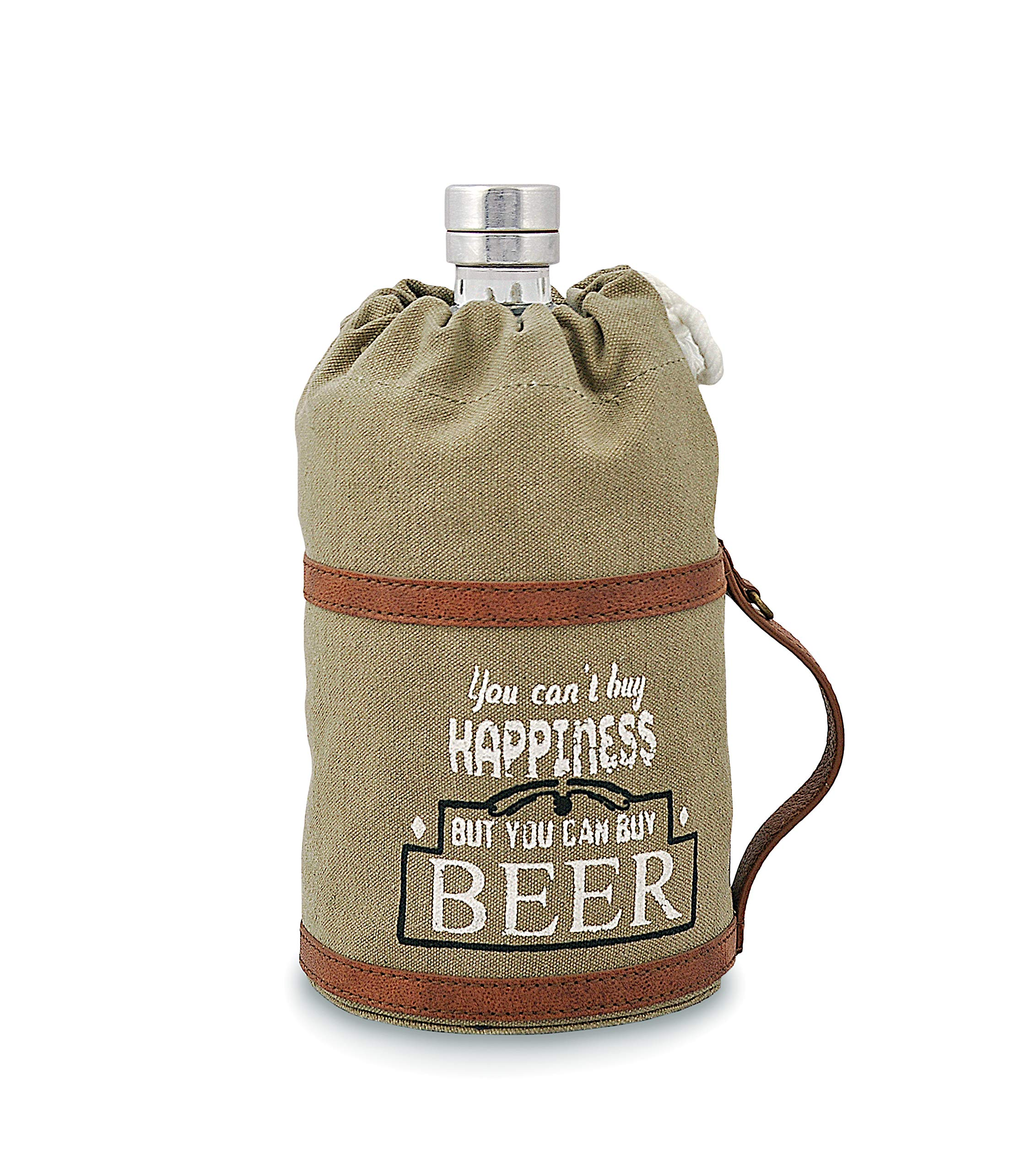 Beer Growler, Made of Canvas and Leather, Eco friendly bag, Handcrafted by Daphne (Happiness)