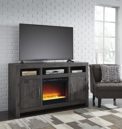 Amazoncom Maison Contemporary Charcoal Wood Tv Stand With Glass