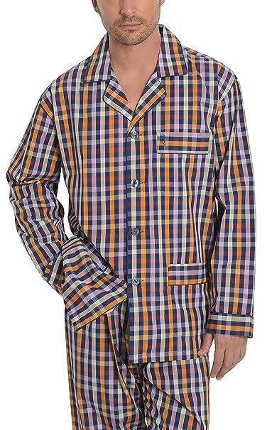 Pijama de Caballero Largo Moderno a Cuadros/Ropa de Dormir para Hombre - Tela Popelín