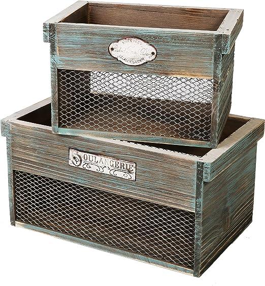 SLPR - Caja de madera decorativa con placa de metal (2 unidades ...