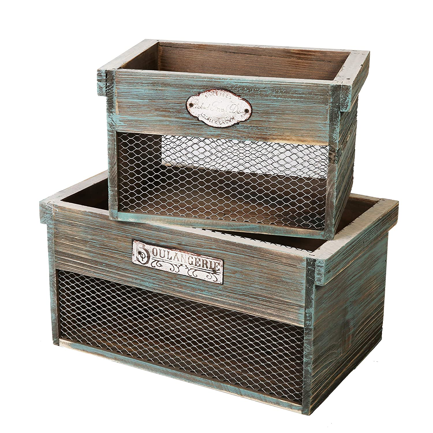 SLPR Wooden Crate with Metal Plate (Set of 2) | Rustic Farmhouse Country Style Antique Old Fashioned Perfect for Floral Arrangements Gardening Wedding Vintage Country Chic Wood and Wire Box