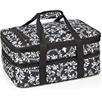 VP Home Double Casserole Insulated Travel Carry Bag (Black and White Flower)